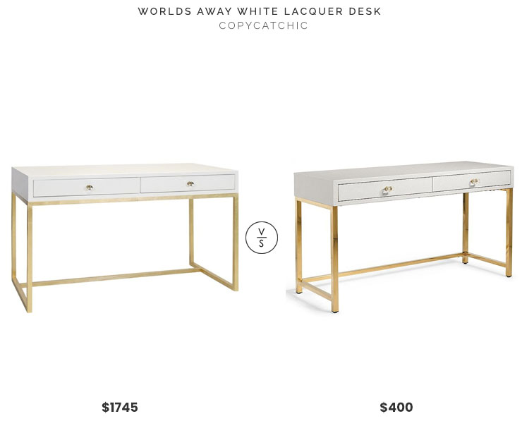 Candelabra Worlds Away White Lacquer Desk $1745 vs Grandin Road Harlow Writing Desk $400 white and gold lacquer desk look for less copycatchic luxe living for less budget home decor and design daily finds, home trends and room redos