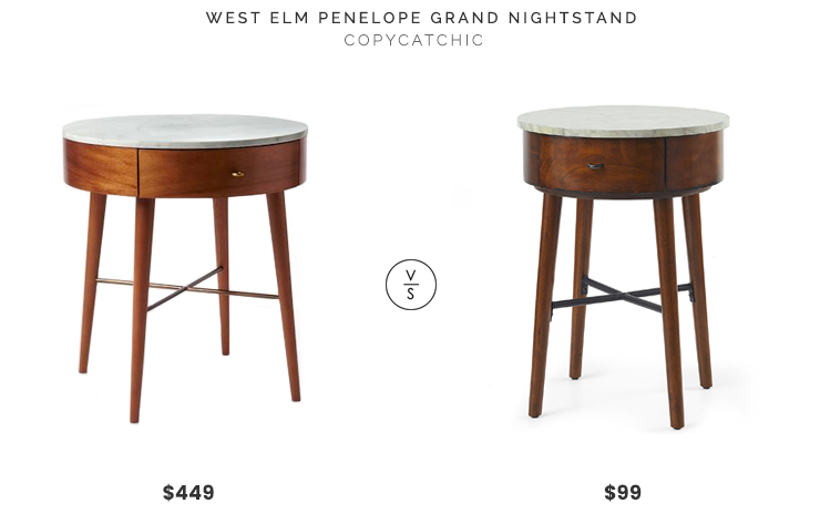 West Elm Penelope Grand Nightstand Acorn with Marble Top $449 vs Walmart Better Homes and Gardens Wood & Marble Finish Round Accent Table $99 mid century modern round nightstand marble top look for less copycatchic luxe living for less budget home decor and design, daily finds, home trends and room redos