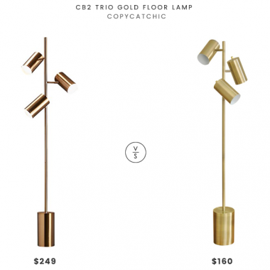 CB2 Trio Gold Floor Lamp $249 vs StyleCraft Contemporary Cylinder Floor Lamp $160 brass trio floor lamp look for less copycatchic luxe living for less budget home decor and design daily finds, home trends and room redos