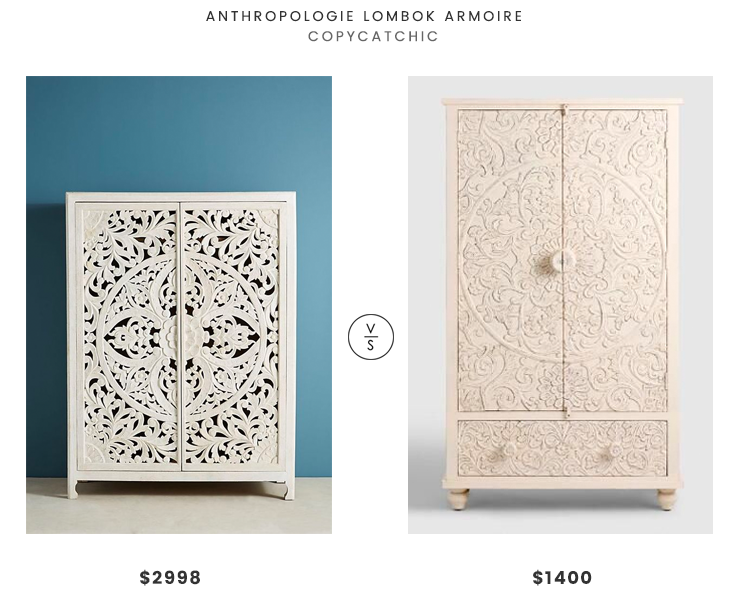 Anthropologie Lombok Armoire $2998 vs World Market White Carved Wood Floral Armoire $1400 white carved armoire look for less copycatchic luxe living for less budget home decor and design daily finds, home trends and room redos
