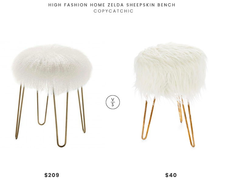 High Fashion Home Zelda Sheepskin Bench $209 vs Steinmart Emma White Fur Ottoman $40 gold hair pin leg fur stool look for less copycatchic luxe living for less budget home decor and design, daily finds, home trends and room redos