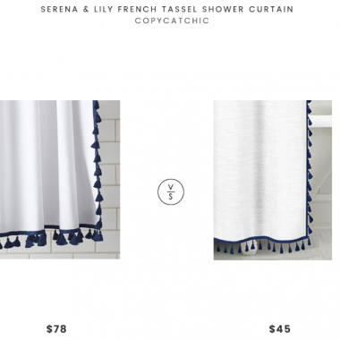 Serena & Lily French Tassel Shower Curtain $78 vs Overstock Echelon Home Tassel Shower Curtain $45 Tassel Shower Curtain look for less copycatchic luxe living for less budget home decor and design daily finds, home trends and room redos