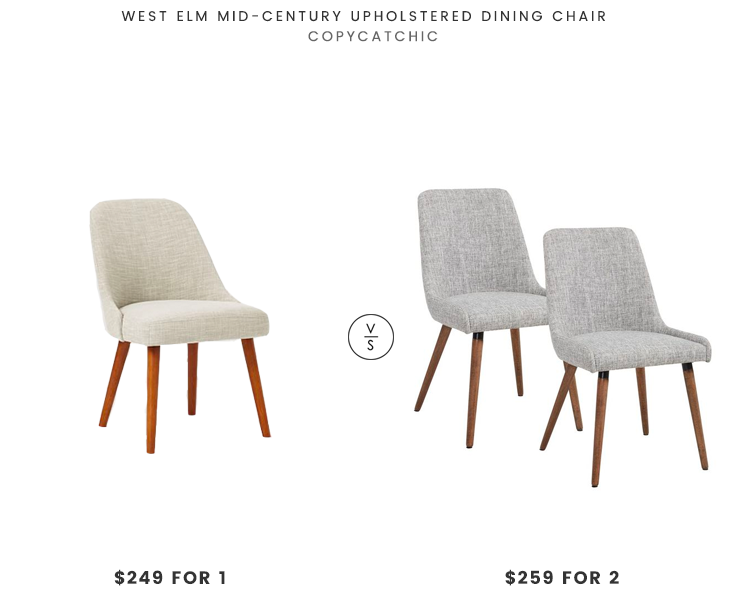 West Elm Mid-Century Upholstered Dining Chair $249 vs Wayfair Inspire Side Chair (set of 2)  $259 mid century upholstered dining chair look for less copycatchic luxe living for less budget home decor and design daily finds, home trends and room redos
