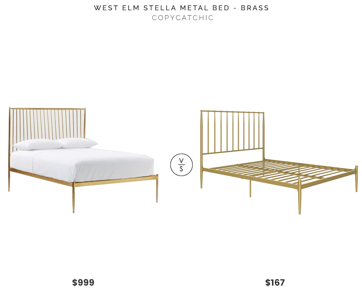 West Elm Stella Metal Bed $999 vs Amazon DHP Guilla Modern Metal Bed $167 modern gold bed look for less copycatchic luxe living for less budget home decor and design daily finds, home trends and room redos