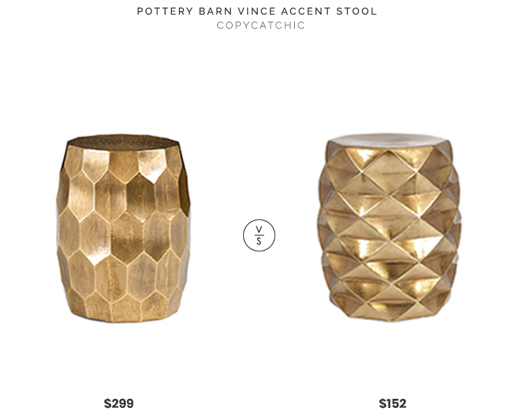Pottery Barn Vince Accent Stool $299 vs Home Depot Britany Gold Garden Stool $152 gold honeycomb ceramic stool look for less copycatchic luxe living for less budget home decor and design, daily finds, room redos and home trends