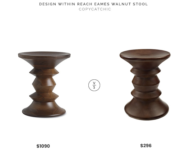 Design Within Reach Eames Stool $1090 vs Beyond Stores Modway Whittle Stool $296 eames walnut stool look for less copycatchic luxe living for less budget home decor and design daily finds, home trends and room redos