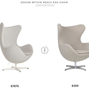 Design Within Reach Egg Chair $7875 vs FortyTwo Designer Replica Egg Chair $359 white linen egg chair look for less copycatchic luxe living for less budget home decor and design, daily finds, home trends, sales and room redos