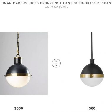 Neiman marcus Hicks Bronze with Antiqued-Brass Pendant $650 vs Wayfair Bari 1-Light Globe Pendant $60 brass black hicks pendant look for less copycatchic luxe living for less budget home decor and design daily finds, home trends, sales, budget travel and room redos