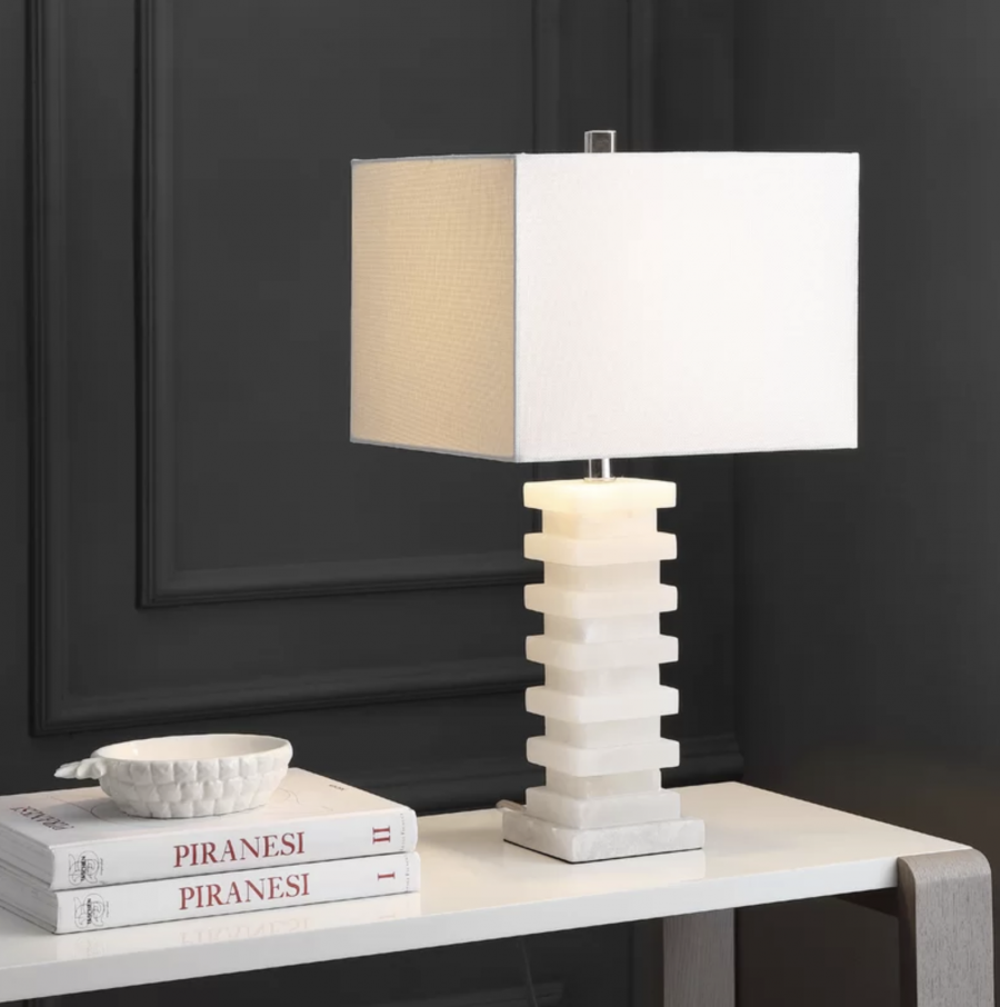All Modern Mei Sunderland Table Lamp $399 vs Safavieh Cinder White Table Lamp $103 marble square step table lamp look for less copycatchic luxe living for less budget home decor and design daily finds, room redos, home trends, sales and budget travel