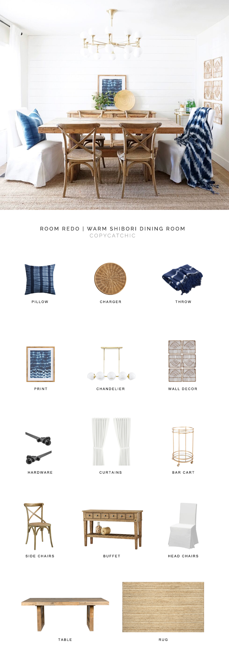 This modern farmhouse style dining room with indigo shibori accents design by Almafied gets recreated for less by copycatchic luxe living for less, budget home decor and design daily finds, home trends, sales, budget travel and room redos