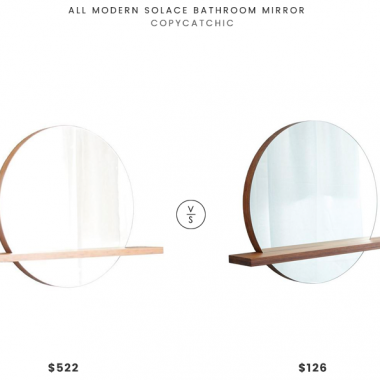 All Modern Solace Bathroom Mirror $522 vs Native Trails Solace Woven Strand Bamboo Shelf $126 round mirror with wood shelf look for less copycatchic luxe living for less budget home decor and design, daily finds, home trends, sales and room redos
