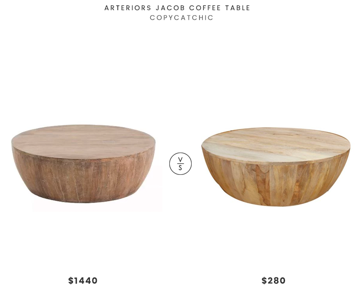 Arteriors Jacob Coffee Table $1440 vs The Urban Port Coffee Table $280 round wooden drum coffee table look for less copycatchic luxe living for less, budget home decor and design, daily finds, budget travel, home trends, sales and room redos