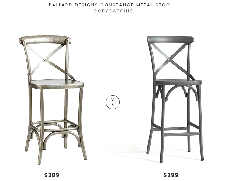 Ballard Designs Constance Metal Stool $389 vs Pottery Barn X-Back Barstool $299 metal x back stool look for less copycatchic luxe living for less budget home decor and design, daily finds, home trends and room redos