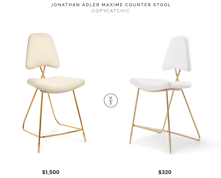 Jonathan Adler Maxime Counter Stool $1,500 vs Overstock Ellipse Counter Stool $320 jonathan adler counter stool look for less copycatchic luxe living for less budget home decor and design, daily finds, home trends and room redos