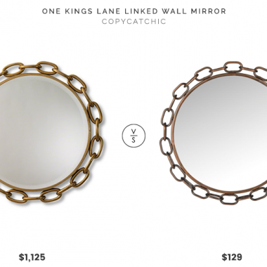 One Kings Lane Linked Wall Mirror $1125 vs Safavieh Atlantis Chain Link Wall Mirror $129 chain link frame mirror look for less copycatchic luxe living for less budget home decor and design daily finds, home trends, sales, budget travel and room redos