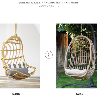 Serena & Lily Hanging Rattan Chair $495 vs Island Bay Bali Resin Wicker Hanging Egg Chair $249 rattan hanging chair look for less copycatchic luxe living for less budget home decor and design daily finds, home trends and room redos