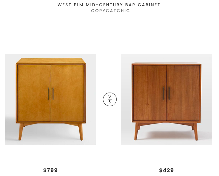 West Elm Mid-Century Bar Cabinet $799 vs World Market Acorn Wood Lyssa Bar Cabinet $429 mid century bar cabinet look for less copycatchic luxe living for less budget home decor and design, daily finds, home trends, sales and room redos
