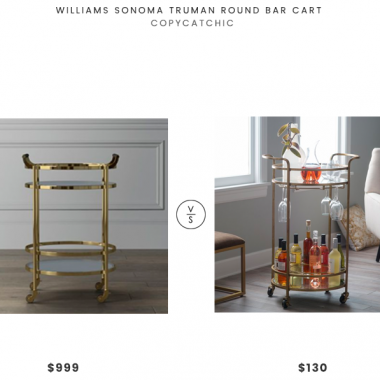 Williams Sonoma Truman Round Bar Cart $999 vs Belham Living Olivia Round Bar Cart $130 round gold bar cart look for less | copycatchic luxe living for less budget home decor and design daily finds, home decor sales and room redos