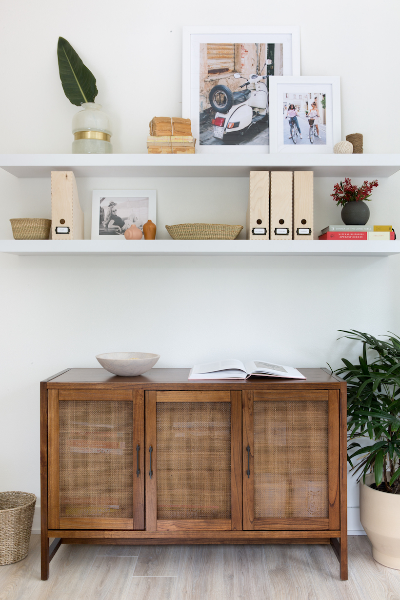Crate & Barrel Blake Grey Wash Media Console $1499 vs Target Warwick Media Cabinet $225 rattan media cabinet look for less copycatchic luxe living for less budget home decor and design, daily finds, home trends and room redos