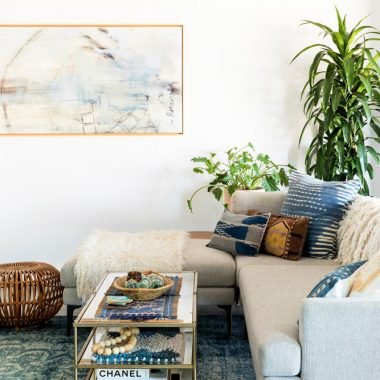 This lush, indigo, boho living room design by Abbie Naber gets recreated for less by copycatchic luxe living for less budget home decor and design, daily finds, look for less, home trends, sales and room redos