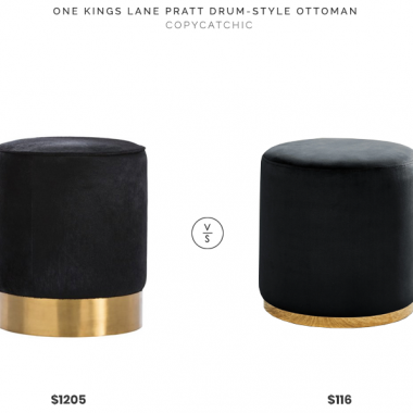 One Kings Lane Pratt Drum-Style Ottoman $1205 vs Overstock Sonata Velvet Ottoman $116 velvet and gold drum ottoman look for less, copycatchic luxe living for less budget home decor and design, daily finds, home trends and room redos
