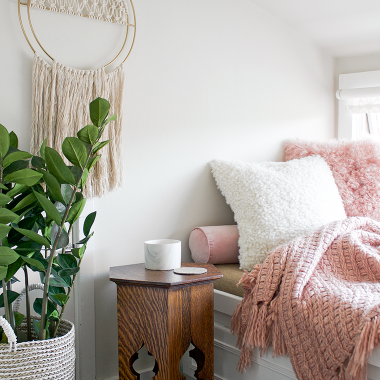 Outfitting a blush pink reading nook with World Market's home décor sale event! All of our favorite picks to make a cozy, chic reading nook of your own for less copycatchic luxe living for less budget home decor and design, daily finds, room redos, home trend, sales and budget travel