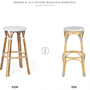 Serena & Lily Riviera Backless Barstool $228 vs Home Depot Kipnuk Barstool $110 bistro stool look for less copycatchic luxe living for less budget home decor and design daily finds, home trends, sales and room redos