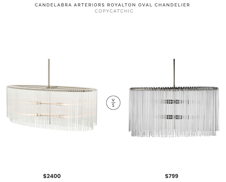 Candelabra Arteriors Royalton Oval Chandelier $2400 vs Z Gallerie Cascada Chandelier $799 bent glass hanging chandelier look for less copycatchic luxe living for less budget home decor and design, daily finds, home trends, sales, budget travel and room redos