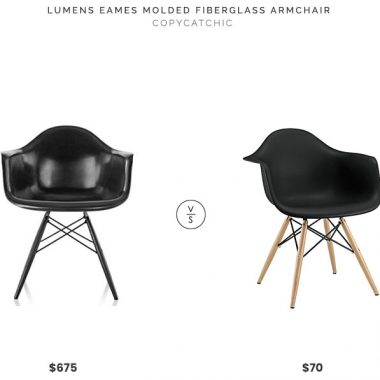 Lumens Eames Molded Fiberglass Armchair $675 vs Bed Bath and Beyond Modway Pyramid Dining Armchair $70 molded chair with wooden legs look for less copycatchic luxe living for less budget home decor and design daily finds, home trends, sales, budget travel and room redos