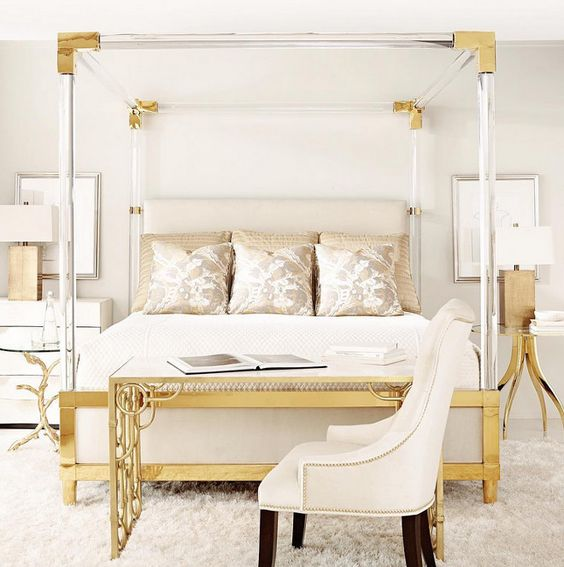 Neiman Marcus Bernhardt Hayworth Golden Acrylic King Bed $10,779 vs CB2 Acrylic Canopy King Bed $2,499 gold lucite acrylic bed look for less copycatchic luxe living for less budget home decor and design, daily finds, home trends, sales, budget travel and room redos