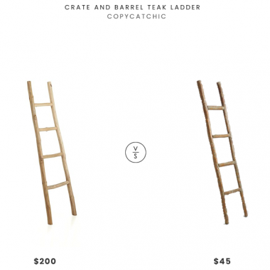 Crate and Barrel Teak Ladder $200 vs World Market Decorative Eucalyptus Ladder $45 wooden wall leaning ladder look for less copycatchic luxe living for less budget home decor and design, daily finds, home trends, sales, budget travel and room redos