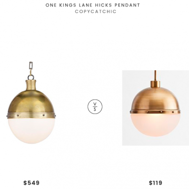 One Kings Lane Hicks Pendant $549 vs Pottery Barn Teen Adjustable Round Brass Pendant $119 brass globe pendant look for less, copycatchic luxe living for less, budget decor and design, daily finds, home trends, sales, budget travel and room redos