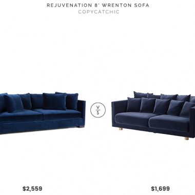 Rejuvenation 8' Wrenton Sofa $2559 vs IKEA 2017 Stockholm Sofa $1699 blue velvet sofa look for less copycatchic luxe living for less budget home decor and design, daily finds, home trends, sales, budget travel and room redos