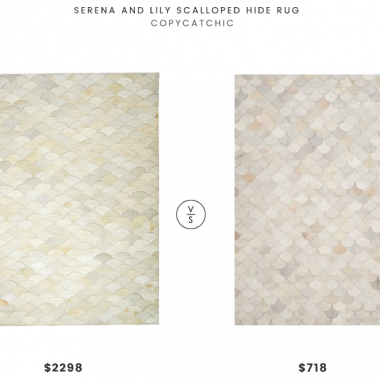 Serena and Lily Scalloped Hide Rug $2298 VS Safavieh Hand-Woven Studio Leather Modern Ivory/Grey Rug $718 ivory scalloped hide rug look for less copycatchic luxe living for less budget home decor and design daily finds, home trends, sales, budget travel and room redos