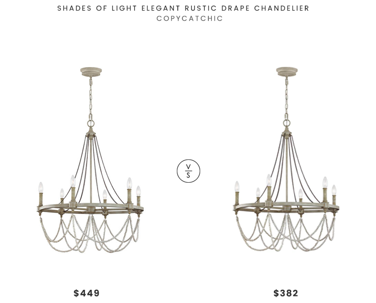 Shades Of Light Elegant Rustic Drape Chandelier 449 Vs Feiss Beverly French Washed Oak