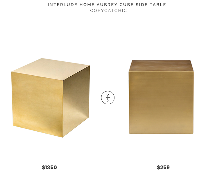 Interlude Home Aubrey Cube Side Table $1350 vs Houzz Spencer Brass Side Table $259 brass gold cube table look for less copycatchic luxe living for less budget home decor and design daily finds, home trends, sales, budget travel and room redos