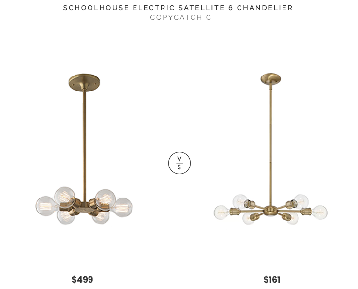 Schoolhouse Electric Satellite 6 Chandelier $499 vs. Wayfair Bautista 6 Light Chandelier $161, gold 6 light chandelier look for less, copycatchic luxe living for less, budget home decor and design, daily finds, home trends, sales, budget travel and room redos