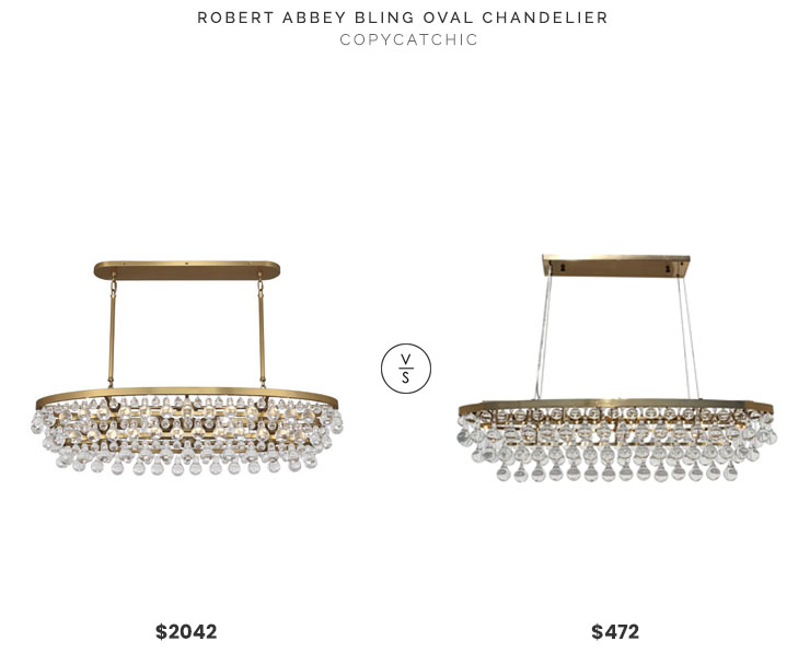 Robert Abbey Bling Oval Chandelier $2042 vs. Celeste Oval Glass Drop Crystal Chandelier $472, gold and glass oval chandelier look for less, copycatchic luxe living for less, budget home decor and design, daily finds, home trends, sales, budget travel and room redos