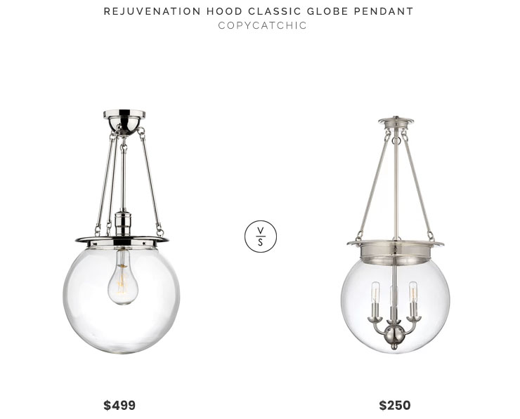 Rejuvenation Hood Classic Globe Pendant $499 vs Wayfair Durrell Urn Pendant $250 classic glass globe pendant look for less copycatchic luxe living for less budget home decor and design, daily finds, home trends, sales, budget travel and room redos