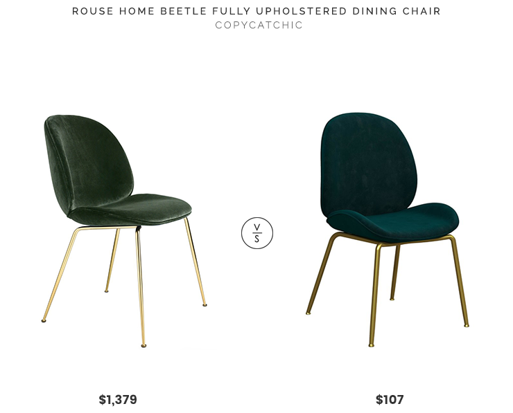 Rouse Home Beetle Fully Upholstered Dining Chair $1,379 vs. Wayfair Astor Upholstered Dining Chair By Cosmo Living $107, green velvet dining chair look for less, copycatchic luxe living for less, budget home decor and design, daily finds, home trends, sales, budget travel and room redos