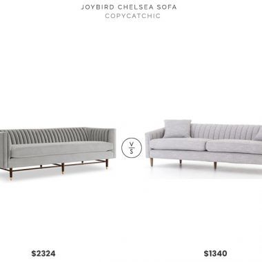 Joybird Chelsea Sofa in Sunbrella Fabric $2324 vs. France and Son Eve Sofa $1340, gray channel back sofa look for less, copycatchic luxe living for less, budget home decor and design, daily finds, home trends, sales, budget travel and room redos