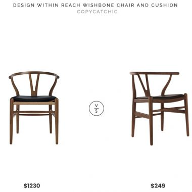 Design Within Reach Wishbone Chair and Cushion $1230 vs. Modern Source Hans Wagner Wishbone Chair Replica $249, walnut wishbone chair leather cushion look for less, copycatchic luxe living for less, budget home decor and design, daily finds, home trends, sales, budget travel and room redos