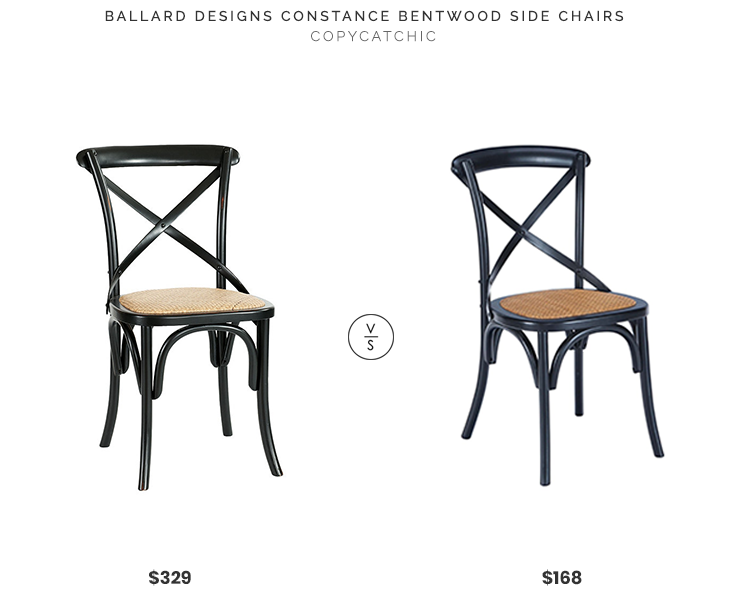 Ballard Designs Constance Bentwood Side Chairs (set of 2) $329 vs. Poly & Bark Cafton Crossback Chairs (set of 2) $168, black crossback dining chairs look for less, copycatchic luxe living for less, budget home decor and design, daily finds, home trends, sales, budget travel and room redos