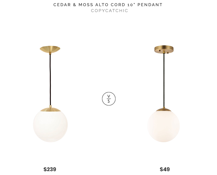 "Cedar & Moss Alto Cord 10"" Pendant $239 vs. Poly & Bark Tesler Globe Pendant $49, brass globe pendant exposed cord look for less, copycatchic luxe living for less, budget home decor and design, daily finds, home trends, sales, budget travel and room redos"