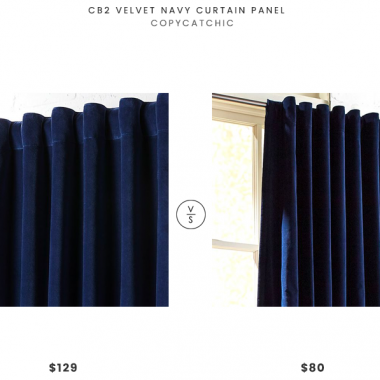 CB2 Velvet Navy Curtain Panel $129 vs. Pier 1 Sheridan Velvet Navy Curtain $80, navy velvet curtains look for less, copycatchic luxe living for less, budget home decor and design, daily finds, home trends, sales, budget travel and room redos