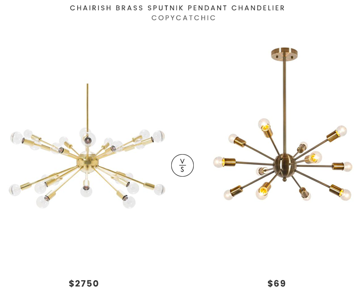 Chairish Brass Sputnik Pendant Chandelier $2750 vs. Poly & Bark Meridia Sputnik Style Chandelier $69, gold sputnik chandelier look for less, copycatchic luxe living for less, budget home decor and design, daily finds, home trends, sales, budget travel and room redos