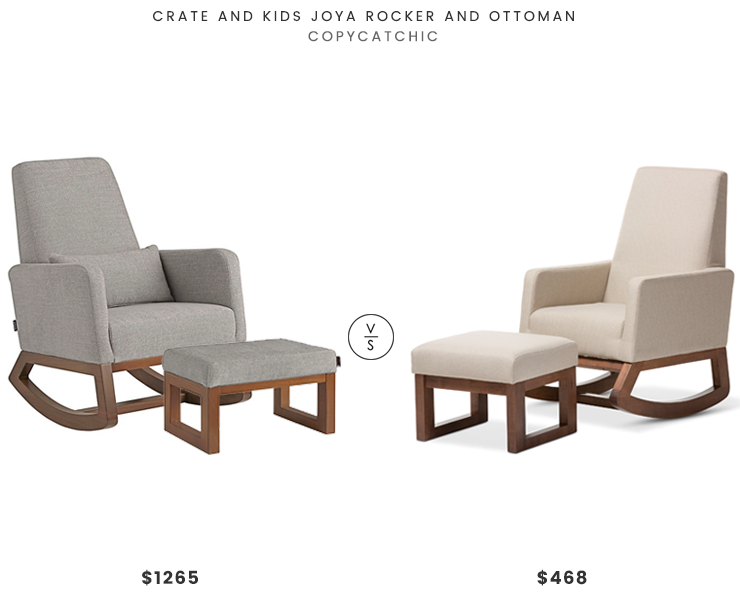 Crate and Kids Joya Rocker and Ottoman $1265 vs. Overstock Mid Century Modern Light Upholstered Rocking Chair and Ottoman Set $468, rocker chair and ottoman look for less, copycatchic luxe living for less, budget home decor and design, daily finds, home trends, sales, budget travel and room redos