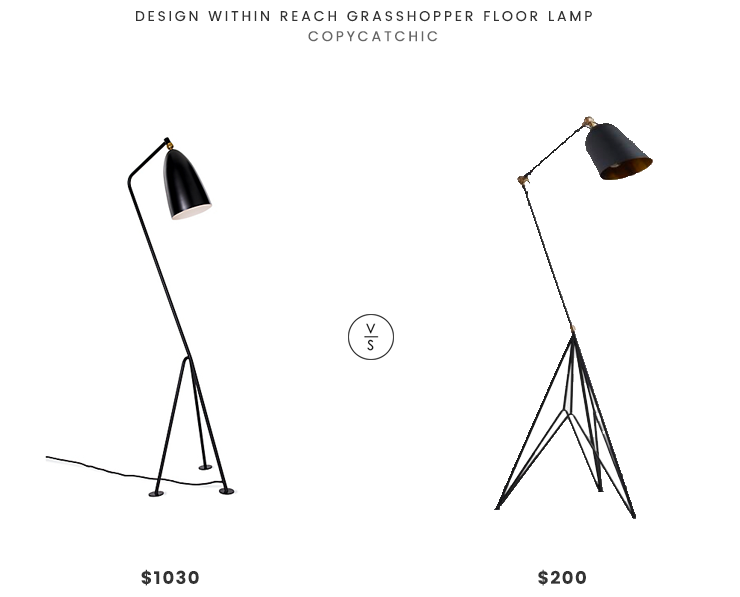 Design Within Reach Grasshopper Floor Lamp $1030 vs. World Market Matte Black and Gold Tripod Lewis Task Floor Lamp $200, grasshopper floor lamp look for less, copycatchic luxe living for less, budget home decor and design, daily finds, home trends, sales, budget travel and room redos