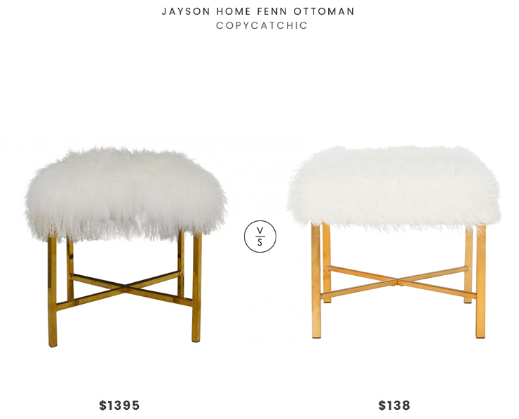 Jayson Home Fenn Ottoman $1395 vs. Safavieh Horace White Faux Sheepskin X-Square Bench $138, sheepskin ottoman look for less, copycatchic luxe living for less, budget home decor and design, daily finds, home trends, sales, budget travel and room redos