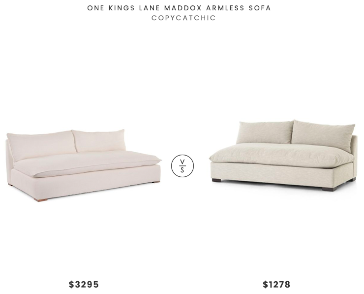 One Kings Lane Maddox Armless Sofa $3295 vs. Crate and Barrel Grant Oatmeal Armless Sofa $1278, beige one seat armless sofa look for less, copycatchic luxe living for less, budget home decor and design, daily finds, home trends, sales, budget travel and room redos